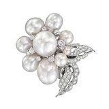 South Sea Pearl & Diamond Flower Brooch