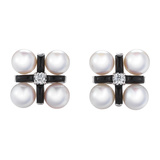 "Pearl, Onyx & Diamond ""Quad"" Earclips"