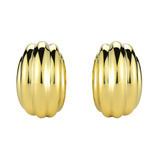 "18k Yellow Gold ""Rigate"" Hoop Earrings"