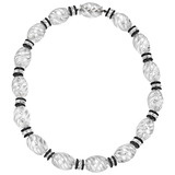 ​Rock Crystal, Onyx & Diamond Bead Necklace