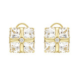 18k Gold &amp; Rock Crystal Earclips with Diamond