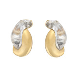 "​18k Gold & Rock Crystal ""Half Link"" Earrings"