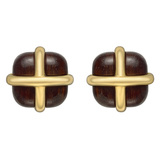 "Rosewood & 18k Yellow Gold ""Crossover"" Earclips"