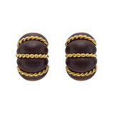 "18k Gold & Rosewood ​""Shrimp"" Earclips"