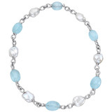 &quot;Seville&quot; Blue Topaz &amp; Pearl Bead Necklace