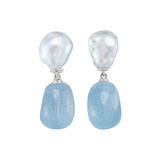 "Baroque Pearl & Blue Topaz ​""Seville"" Drop Earrings"