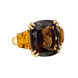 Smoky Quartz & Citrine Three-Stone Ring