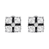 Rock Crystal & Onyx Earclips with Diamond