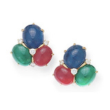 Sapphire, Emerald & Ruby Triple Cabochon Earclips