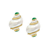 Extra Small &quot;Turbo Shell&quot; Earclips with Emerald Caps 