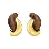 "​18k Gold & Walnut ""Half Link"" Earclips"