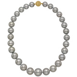 Silver Tahitian Pearl Necklace with 18k Gold Clasp