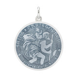 Medium Silver St. Christopher Medal with Gray Enamel