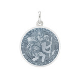 Small Silver St. Christopher Medal with Gray Enamel