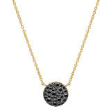 Small 18k Yellow Gold & Black Diamond Circle Pendant