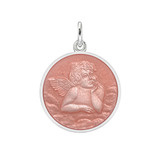 ​Small Silver Angel Medal with Pink Enamel