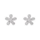 Small 18k White Gold & Diamond Flower Stud Earrings