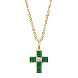 Small 18k Gold, Emerald &amp; Diamond Cross Pendant