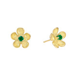 Small 18k Gold & Emerald Flower Stud Earrings