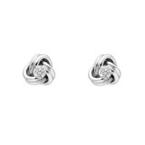 Small 18k White Gold & Diamond Knot Stud Earrings