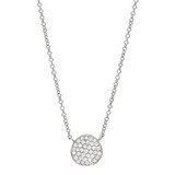 Small 18k White Gold & Diamond Disc Pendant