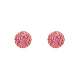 Small Pavé Pink Sapphire Domed Earstuds