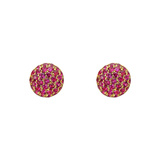 Small Pavé Ruby Domed Earstuds