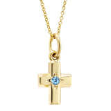 ​Small 14k Gold & Aquamarine Cross Pendant
