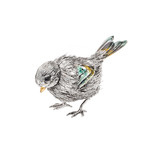 Silver &amp; Enamel Songbird