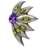 Large Gem-Set Flower Brooch