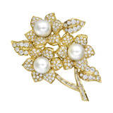 18k Gold, South Sea Pearl &amp; Diamond Flower Brooch