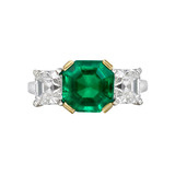 Square Emerald-Cut Emerald & Diamond Ring