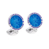 Silver St. Christopher Cufflinks with Blue Enamel