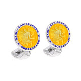 Silver St. Christopher Cufflinks with Yellow Enamel