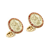 14k Gold St. Christopher Cufflinks with Red Enamel