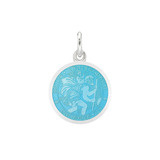 XS Silver St. Christopher Medal with Light Blue Enamel