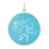Large Silver St. Christopher Medal with Light Blue Enamel