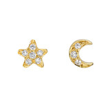 Small 18k Gold & Pavé Diamond Star & Moon Stud Earrings