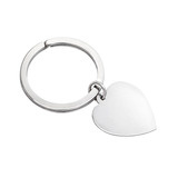 Silver Key Ring with Heart Tag