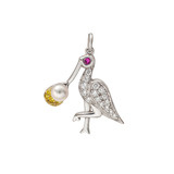 Stork Delivering Newborn Baby Diamond Charm