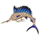 Seed Pearl &amp; Enamel Swordfish Pin