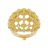 18k Gold &amp; Diamond &#039;Fiori&#039; Bombe Band Ring