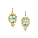18k Yellow Gold & Aquamarine Oval Earrings