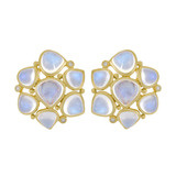18k Gold & Moonstone Cluster Earrings