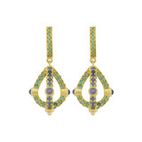 "18k Gold, Sapphire & Tsavorite ""Stupa"" Earrings"