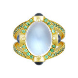 "18k Gold, Moonstone & Gem-Set ""Stupa"" Ring"