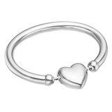 Silver Spinning Heart Baby Rattle