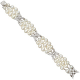 Three-Strand Pearl & Diamond Bracelet