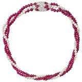 Three-Strand Pearl & Ruby Bead Choker