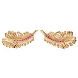 14k Gold &amp; Ruby Feather Earclips